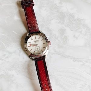 Vintage Silver and Maroon Coach Watch